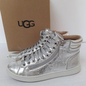 New UGG Silver Leather High Tops Size 6.5